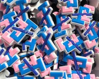 J&J (Pink and Blue) Shoe Charms, Black Social Organizations