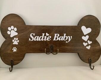Custom Dog Leash Holder Board - Personalized Leash Hanger - Leash Organizer - Handmade Customized Half Inch Wood Leash Holder Board