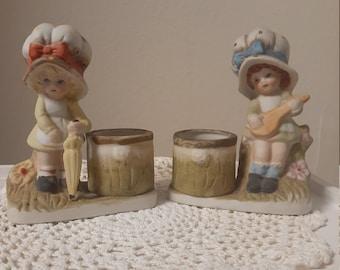 Little Luvkins 1979 Jasco Lot of 2 Collectible Vintage Porcelain Candle Holder/Planter