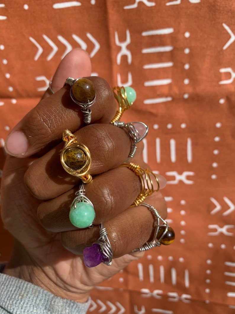 wire wrap rings Crystal rings