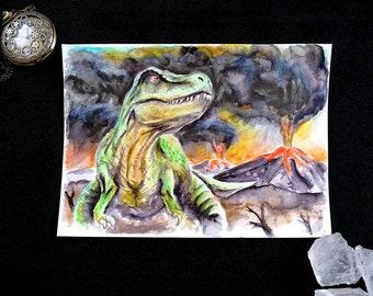 Dinosaur Tyrannosaurus Rex - Original Watercolor