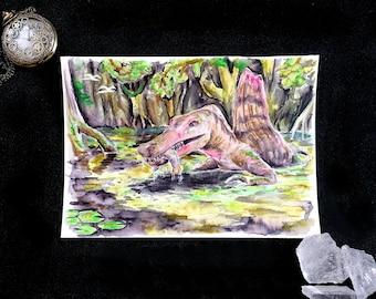 Dinosaur Spinosaurus - Original Watercolor