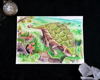 Dinosaur Ankylosaurus - Original Watercolor