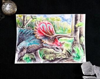 Dinosaur Triceratops - Original Watercolor
