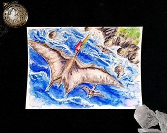 Dinosaur Quetzalcoatlus - Original Watercolor
