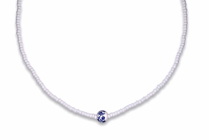White Seed Bead Choker with Blue Flower Bead