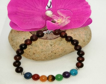Santal wooden beaded bracelet and antique silver charm