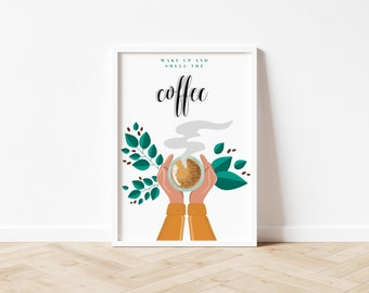But First, Coffee! | Morning Coffee Poster | Coffee Digital Artwork | Coffee Lover Wall Decor | Espresso Wall Art