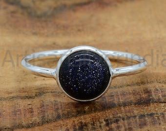 Blue Sandstone 925 Sterling Silver Statement Ring Handmade silver Ring Sandstone Ring Christmas Ring