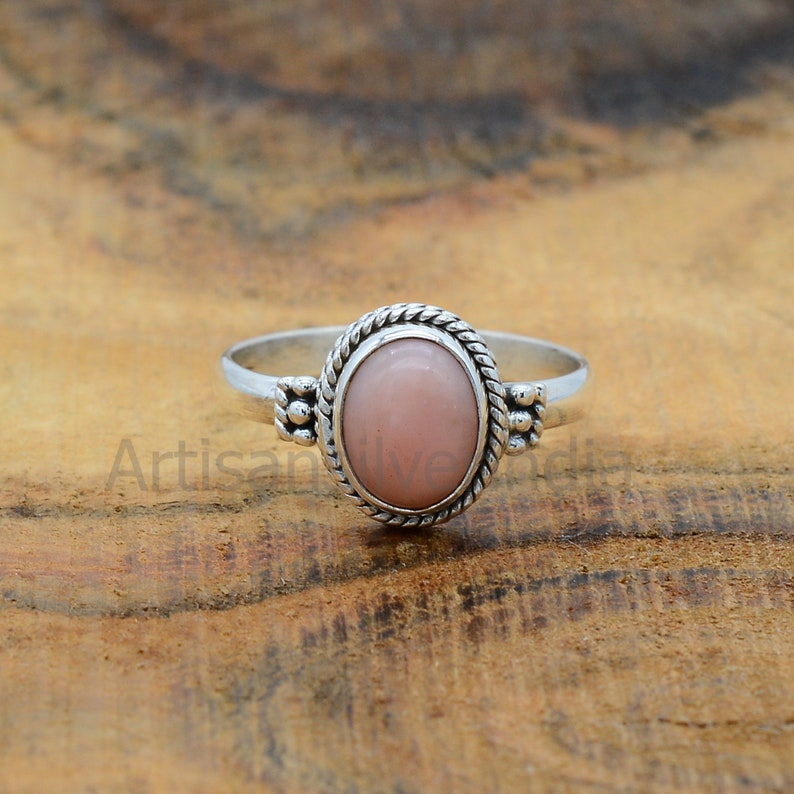 925 Silver Ring Pink Opal Ring Opal Stone Ring Promise Ring Statement Ring Ring For Women Gemstone Ring Antique Ring Everyday Ring