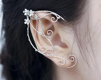 Silver Elven Ear, Elf Ear Cuff, Handmade Clip-on Earring Elven Cuff, Wrap Earring for Women and Girls, Elven Ear Cuff Elvish Earring Elf Ear