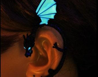 Dragon Ear Cuff, Clip-on Earring Dragon Cuff, Dragon Ear Cuff glow Earrings GLOW in the DARK Hallowen Wrap Earring for Women and Girls