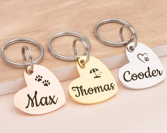 Heart Keychain Sturdy Metal dog identification name tag Purse Charm Zipper Pull Personalized custom hand stamped heart pet id name tag