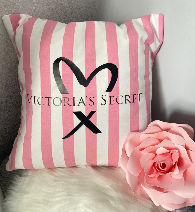 home decor handmade Personalised name Pink and white stripe print Cushion cover only living rooms Designer inspired bedroom guestroom