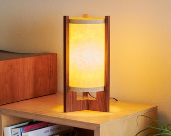 Mid Century Wood Lamp with Japanese lamp shade - Danish Modern Lamp, Table Lamp, Walnut Lamp or Teak Lamp