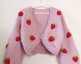 Vintage Woman/'s Strawberry Sweater By Leroy  Vintage Strawberry Sweater  Bohemian Sweater