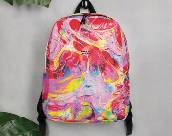 Designer created All-Over Print Minimalist Backpack /'/'Make Art Not War/'/' collection