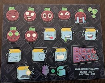 17 Beet & Bocks Emoticon Sticker Sheets | Emotions and Music Emotes