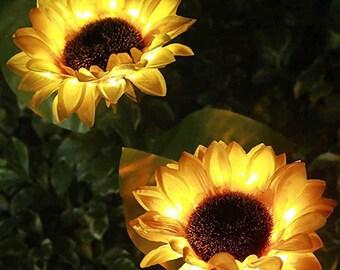 Outdoor Sunflower Solar Lights  (2PC), Waterproof, Lawn Decor Outdoor, Garden Stake Flower.