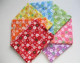 floral FAT QUARTER BUNDLE Set of 7 multicoloured flowers 100% cotton fabric bundle quilting patchwork craft fabric bunting 50cm x 50cm