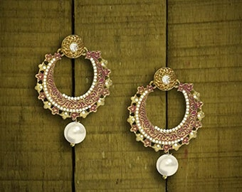 Bronze Dangle Earrings Jewellery Floral Round Pearl Earrings Everyday Lightweight Burgundy Flower Earrings Sea Shell Burgundy Earrings