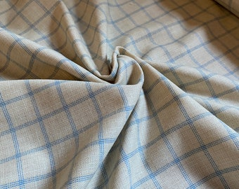 Vintage 100% Natural Wool Silk Blend Suiting Fabric by the Yard