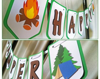 Camp Birthday Smores Camp Tent Camping Birthday Banner High Chair Garland One Happy Camper Camping Party Campfire Banner Campfire Birthday