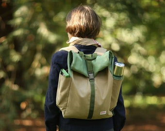 Backpack, Rucksack Handmade in the UK, Sustainable, vintage Aesthetic, waxed cotton canvas, stylish outdoor kit - Khaki and Fern Green