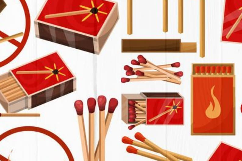 Burning match with fire 21 Matches Clipart Collection svg png Opened matchbox Charcoal sign no fire cut Matches SVG Bundle lights