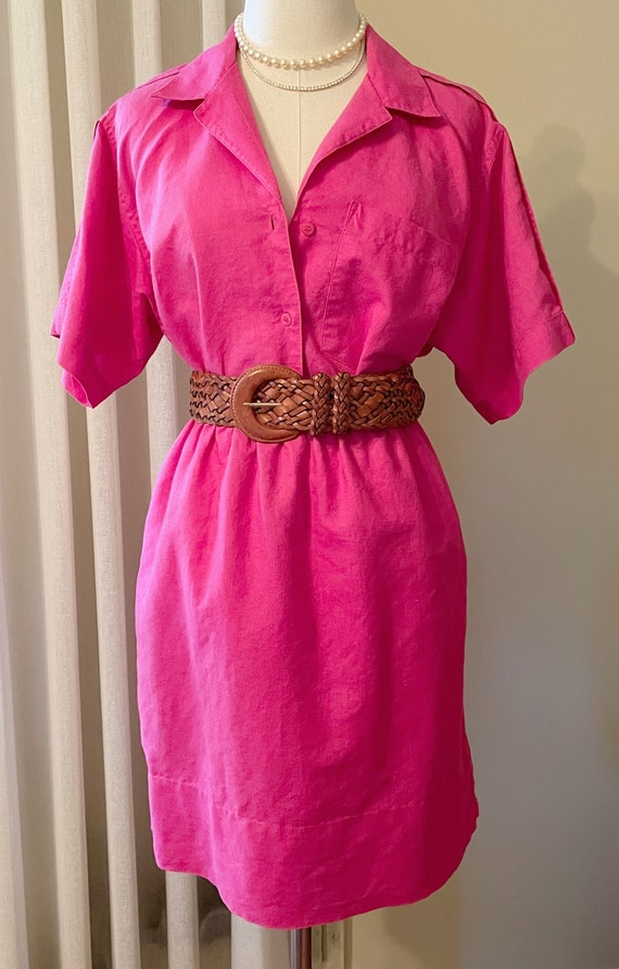 Vintage 1990s Hot Pink Blouse and Skirt Set