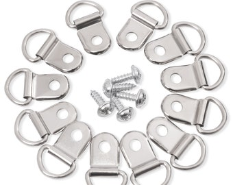 D Ring Picture Frame Hanging Hangers Wall Bracket Hanger with Screws for Home Party Decoration 80 Pcs