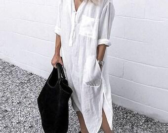 Maxi shirt dress | Etsy