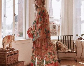 Boho Kimono, Boho Summer Kimono Dress, Bohemian Women Long Floral Kimono, Boho Cardigan, Bohemian Beach Kimono, Boho Kaftan Maxi Dress