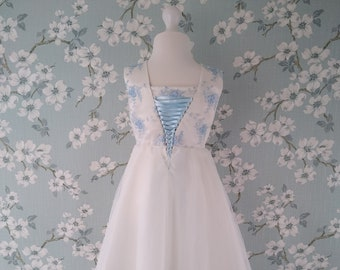 Classic Adora Blue Lace and Ivory Flower Girl Party Dress