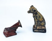 Victor Records Dog and Victorola Record Player Figurines, RCA Victor Dog and Record Player, Nipper Dog Statue, Cast Iron RCA Nipper Dog