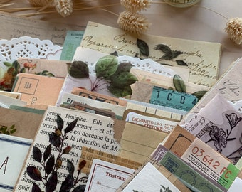 50 pces. Pack of Vintage pieces of papers, stickers and ephemera for junk journal, bullet journal, scrapbooking, journaling.