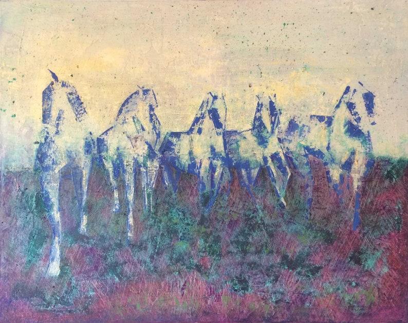Five camarguais galloping image 0