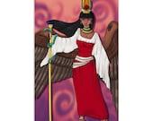Aset/Isis Great of Magic - High Quality Original Kemetic Artwork Print 4″ × 6″