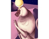 Djehuty/Thoth as Baboon - High Quality Original Kemetic Artwork Print 4″ × 6″