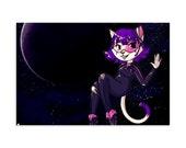 Nora Neko in Space - High Quality Original Anime Artwork Print 4″ × 6″