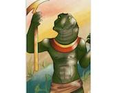Sobek, Lord of the Nile - High Quality Original Kemetic Artwork Print 4″ × 6″