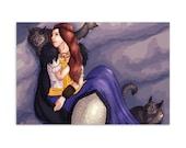 Freyja/Freya - High Quality Original Norse Artwork Print 4″ × 6″