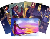 Mini Print Bundle - Set of 5 High Quality Original Artwork Prints 4″ × 6″ including Kemetic, Norse