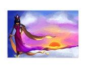 Lady of Dawn, Bast-Mut/Bastet - High Quality Original Kemetic Artwork Print 4″ × 6″