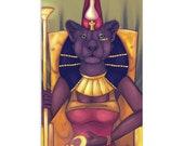 Throned Bast-Mut - High Quality Original Kemetic Artwork Print 4″ × 6″