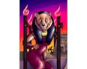 Sekhmet as 4 of Wands - High Quality Original Kemetic Artwork Print 4″ × 6″