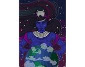 Nut, Mistress of Heaven - High Quality Original Kemetic Artwork Print 4″ × 6″