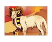 Amun-Ra as Criosphinx - High Quality Original Kemetic Artwork Print 4″ × 6″