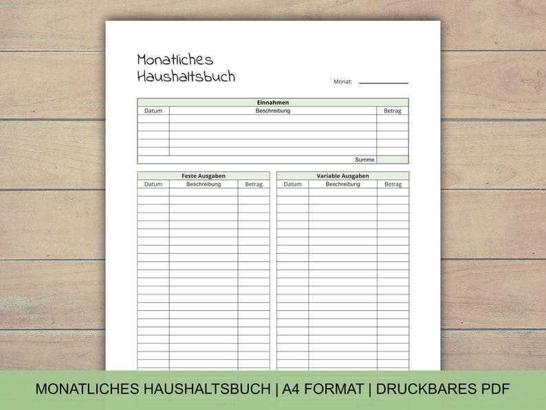 Monatliches Haushaltsbuch PDF A4 Format Haushaltsplan für image 0