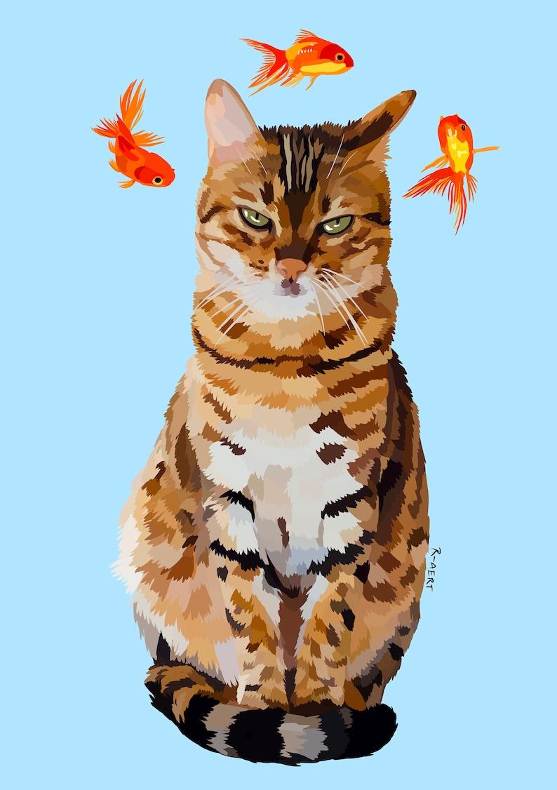 Cat and Goldfish Digital Artwork Printable Poster Instant Download